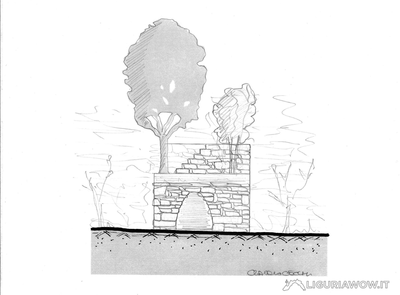 Rilievo fornace da calce in Costa dei Tre Cammini a Taggia Liguria